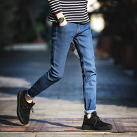 2018 Summer New Style Stretch Slim Feet Large Size 36 Denim Casual Pants Personality Trendy Classics