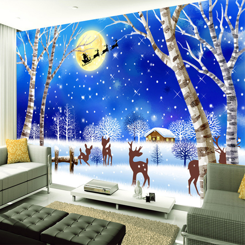 Popular cartoon winter wallpaper buy cheap cartoon winter for Winter wall murals