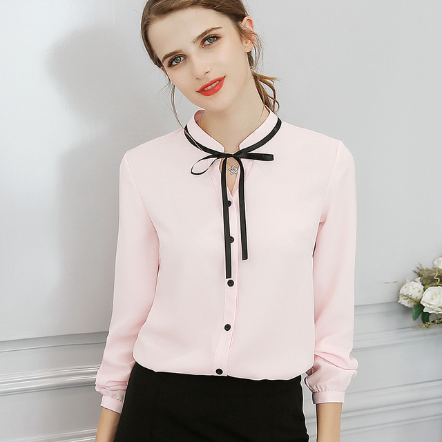 Новый демисезонный Топы корректирующие Офисная Женская блузка мода с длинным рукавом Лук тонкий белая рубашка Женский милый Bodycon работы блузки для