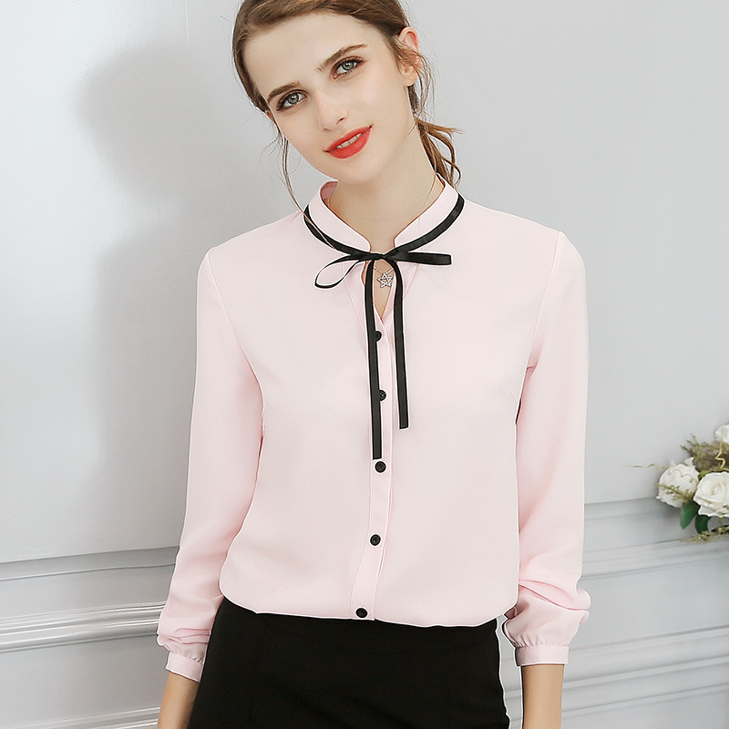 Nueva primavera otoño Tops Oficina señoras blusa moda manga larga lazo Delgado blanco camisa femenina lindo Bodycon trabajo Blusas