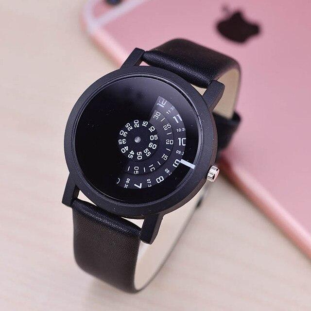 Fashion Women Men Quartz Watch Lovers Couple PU Leather Wristwatch Simple Turnta