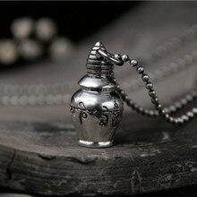Real 925 Sterling Silver Tibetan OM Mani Padme Hum Dorje Pendant Vintage Solid Buddhist