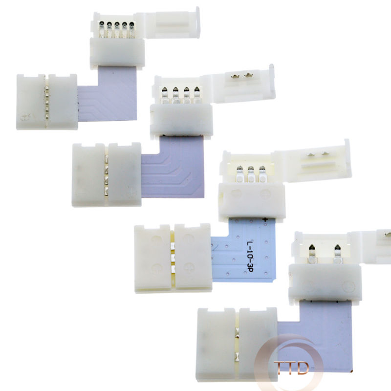 2pin 3pin 4pin 5pin 8mm 10mm 12mm L Shape LED Connector For Connecting Corner Right Angle 3528 2812 5050 RGB Rgbw LED Strip