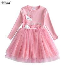 VIKITA Girls Dress Long Sleeve Kids Flower Dresses Children Unicorn  Vestidos 2018 Girls Dresses Autumn Kids 56d8b0d38c48