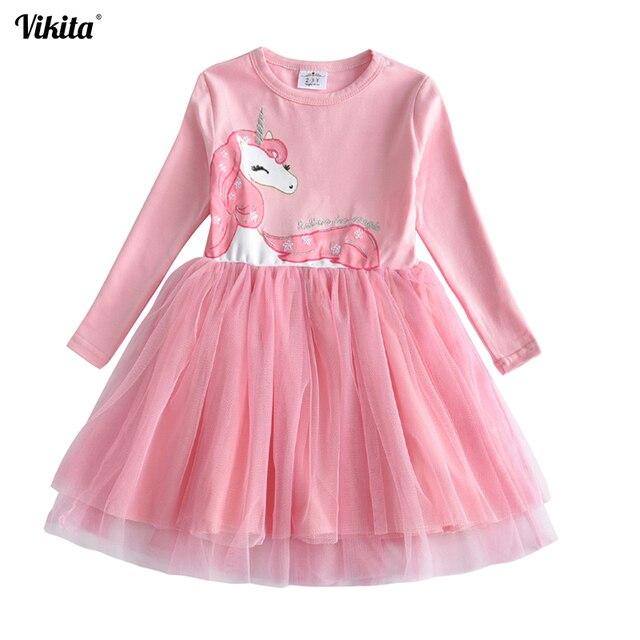 VIKITA בנות שמלה ארוך שרוול ילדי פרח שמלות ילדי Unicorn Vestidos 2018 בנות שמלות סתיו ילדים שמלת ילדה