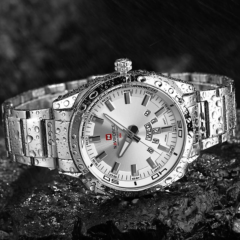 Image 3 - למעלה מותג יוקרה גברים שעונים NAVIFORCE מלא להקת פלדה עמיד למים תאריך שבוע קוורץ שעון גברים מקרית שעוני יד Relogio Masculinoשעוני קווארץשעונים -