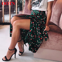 OOTN Vintage Leopard Print Long Skirts Women High Waist Midi Skirt Bow Tie 2019 Summer Sexy Split Wrap Skirt Ladies Green Beach(China)