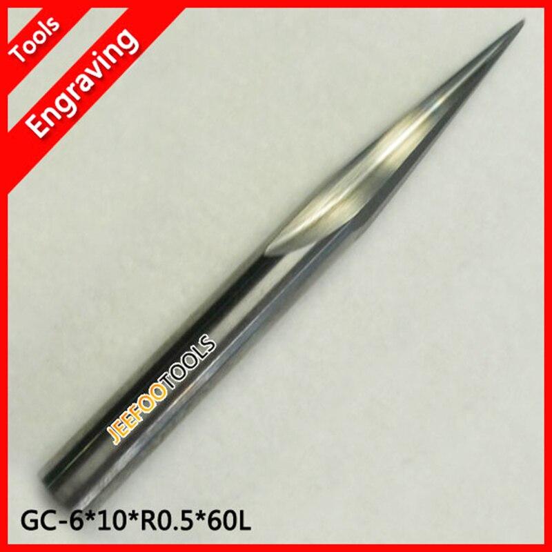 6 * 30H * R0.5 * 10 grados * 60L Dos flautas Punta de bola Fresas cónicas para un buen alivio, herramientas de corte de acero de tungsteno importadas