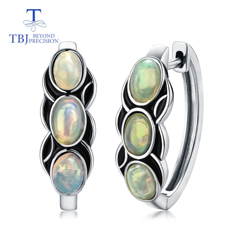 TBJ vintage style clasp earring natural Ethiopia colorful opal gemstone 925 sterling silver jewelry for women