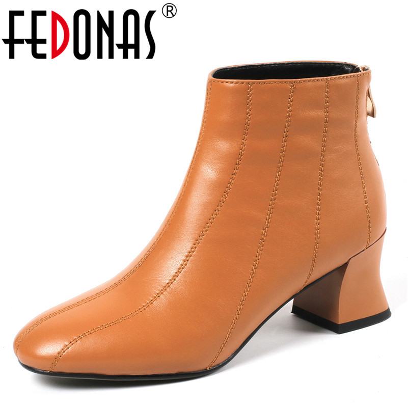 FEDONAS Brand Ankle Boots Genuine Leather Autumn Winter Martin Shoes Woman Zipper High Quality Basic Boots Laides New 2019 Shoes 2018 fashion new men ankle martin boots basic high quality real genuine leather spring autumn luxury brand man black shoes 38 44