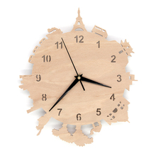 Carveman World tour Wooden Wall Clock Wall Hanging Unique Art Clock Decorative Clocks for Nursery Bedroom Decoration  HWC020