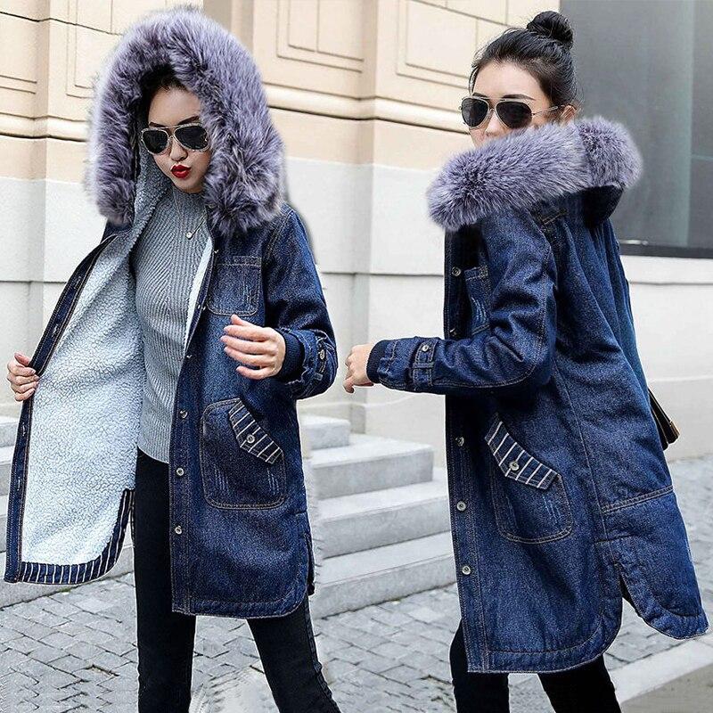 virallinen kauppa kuuluisa merkki näyttää hyvältä kengät myynti US $37.89 55% OFF|Autumn Winter Women jean jacket Fur lining Denim Jacket  for Women Plus size 5XL Hooded Jean Coat Female Warm Denim Long Outwear-in  ...