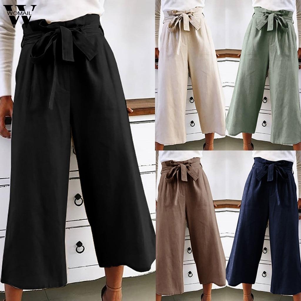 Womail Women Pants Korean Wide Leg Pants Women Casual Loose High Waist with Bow Belt Trousers Femme fashion long pant J710
