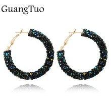 f0b5c85afe9a EK711 nueva marca de moda encanto de cristal austriaco pendientes de aro de  diamantes de imitación brillante círculo pendientes .
