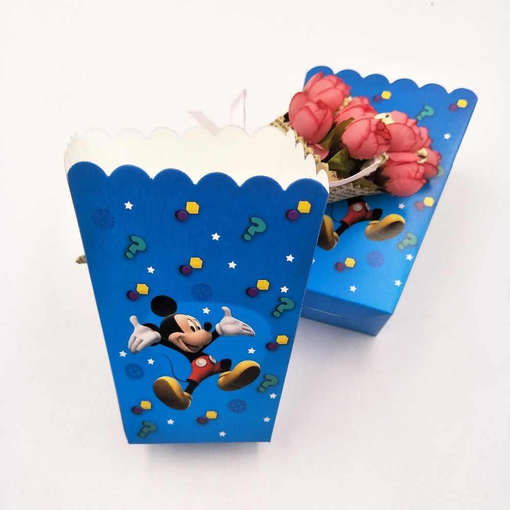 6 Pz/set di Mickey Mouse Bambini Festa di Compleanno Forniture Scatola di Popcorn Cassa Del Regalo Scatola di Favore Festa di Compleanno Accessorio Della Decorazione 1