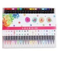 20 Colors Professional Watercolor Brush Pen Soft Tip Color Gradient Writing Drawing Painting Waterbrush Pens Set