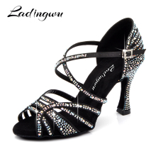 Ladingwu Latin Dance Shoes Women New Silk satin Black Salsa Rhinestone Shoes Dance For Woman Ballroom Dancing Shoes heel 5-10cm