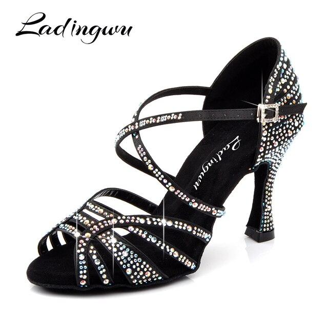 Ladingwu/туфли для латинских танцев, женская новая шелковая атласная черная обувь для сальсы со стразами, танцевальная Женская Обувь для бальных танцев, Каблук 5-10 см