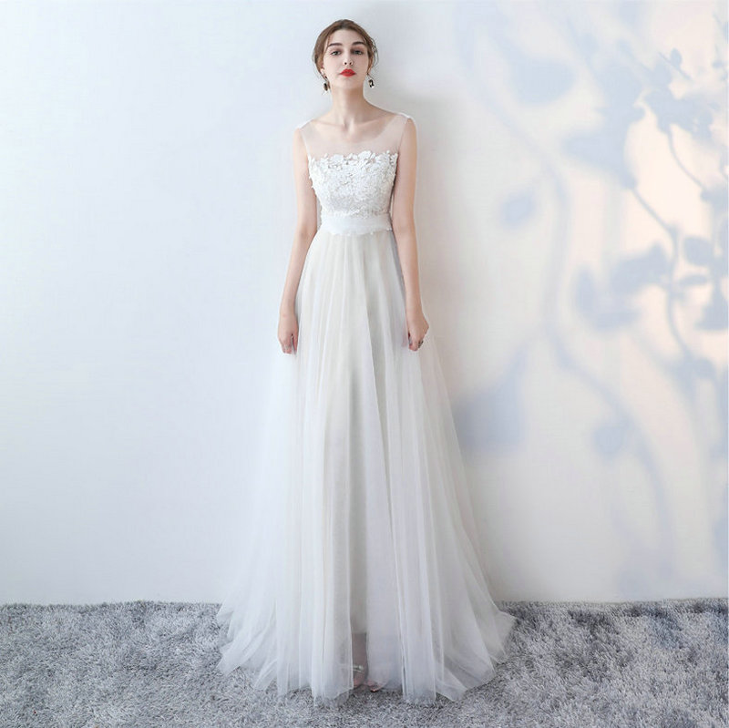 Beauty-Emily White Wedding Dresses 2017 New Sexy Scoop Tulle Appliques Beach Bride Dress Long Ivory Wedding Gowns Custom made