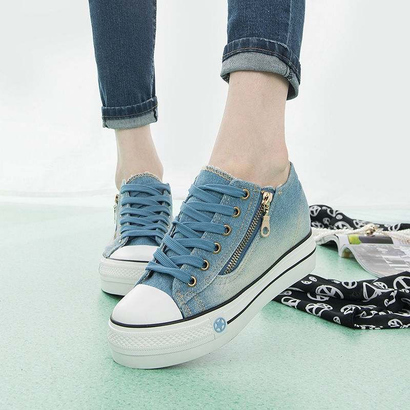 XINGYIDA Side Zipper Platform Shoes Women's Breathable Blue Casual Canvas Shoes Spring Autumn Students Platform Shoes Sneakers e toy word canvas shoes women han edition 2017 spring cowboy increased thick soles casual shoes female side zip jeans blue 35 40
