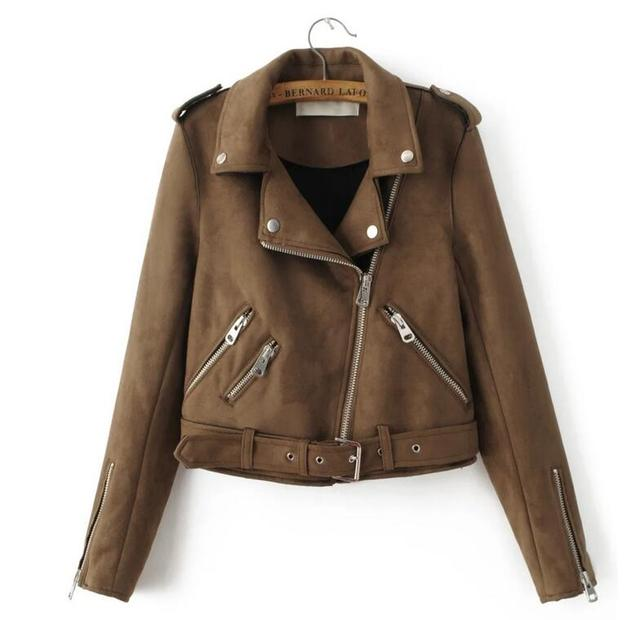 2017 Europe Fashion New Suede Jacket Lapel Zipper Locomotive Jacket Women Fashion Jacket