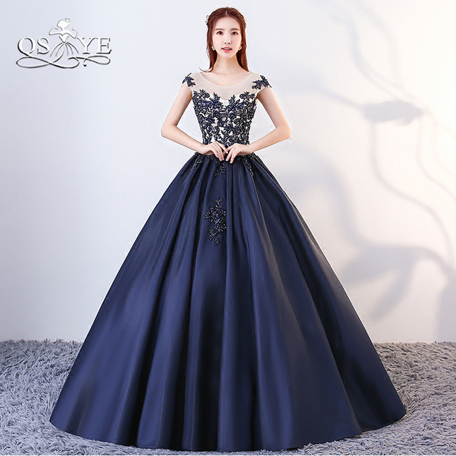 406560dffed QSYYE 2018 Navy Blue Long Prom Dresses Formal Evening Dress Ball Gown Lace  Satin Floor Length Vintage Party Gown Custom