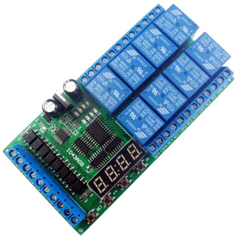 Dc12V 8 Channels Multifunction Timer Delay Relay Board Time Switch Timing Loop Interlock Self Locking Momentary Bistable|Circuits| |  - title=