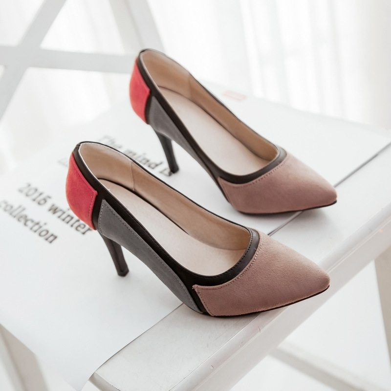 Suede Color Pointed Toe Thin High Heels Woman Shoes Summer Cut-Outs Wedding Female Simple Women's Pumps Plus Size 35-43 183