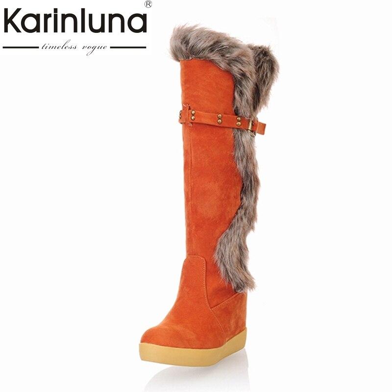 Karinluna Fashion Women Knee High Boots Hidden Wedges Faux Rabbit Fur Upper Platform Winter Fur Shoes Buckle Warm Snow Boots faux fur buckle knee high snow boots