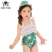 MANYIER Children Summer Swimming One Piece Baby Girls Bathing Suit With Cap Floral Swimwear For Kid