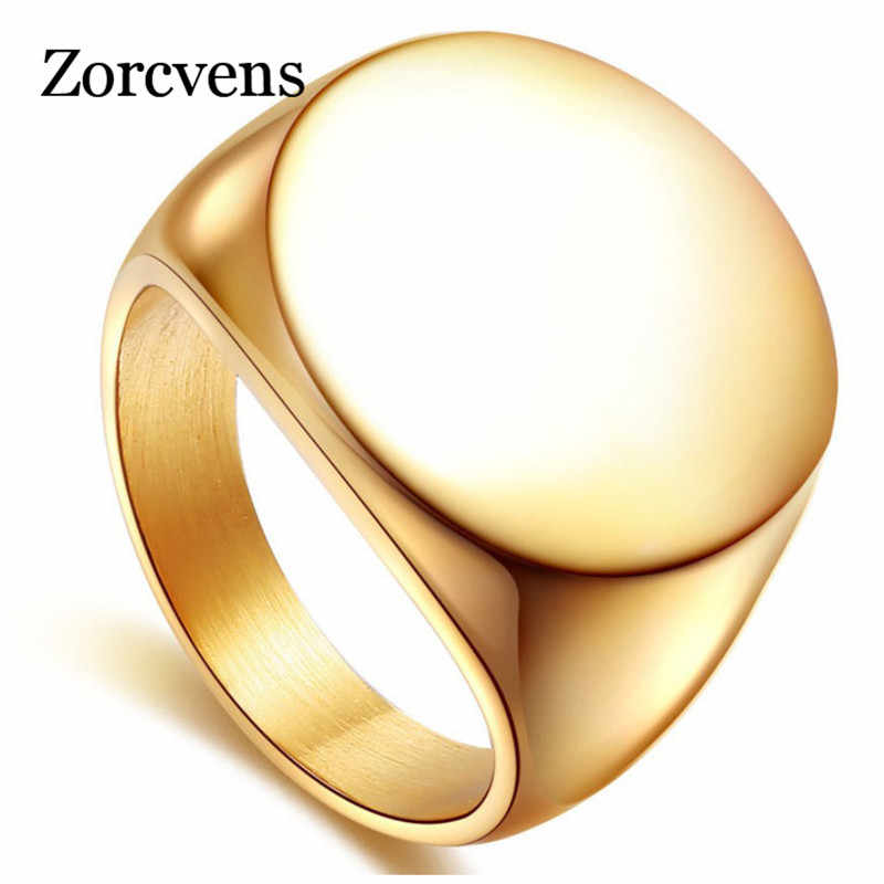 ZORCVENS 2019 High Polished Signet Solid Stainless Steel Fashion Man's Ring 316L Stainless Steel Biker Unique Ring for Men