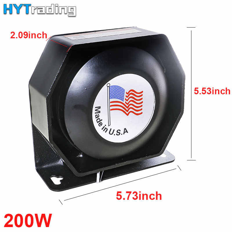 Car Horns 200W PA Flat LouldSpeaker,12V Megaphone Electronic Speaker For Emergency Car Truck Black Metal Multi-tone