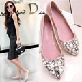 Handmade beaded 2016 spring new lace pearl Rhinestone women shoes flat with shallow mouth pointed flat shoes Single shoes 35-40