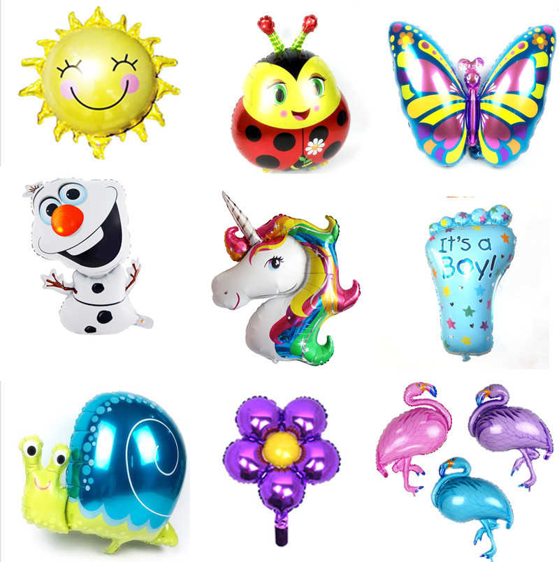 Foil Balloons Animals Inflatable Air Unicorn Number Birthday Cake