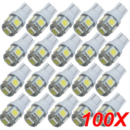 TOYL 100PCS T10 White 168 194 501 W5W 5 SMD LED Car Side Wedge Light Lamp Bulb DC 12V 10pcs t10 led bulb 5 smd 5050 led t10 w5w 194 168 car light source lamp t10 5 led dash indicator signal side wedge tail light