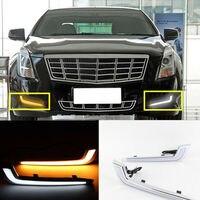 Пара желтых светодиодных дневных ходовых огней противотуманных фар для Cadillac XTS 28T 2013-16
