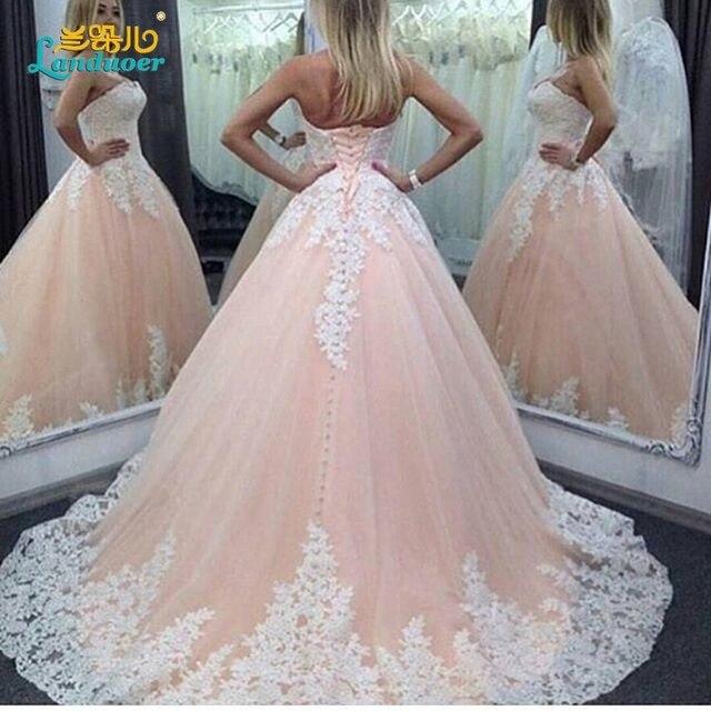 nueva novia princesa rosa apliques de encaje largo vestido de bola