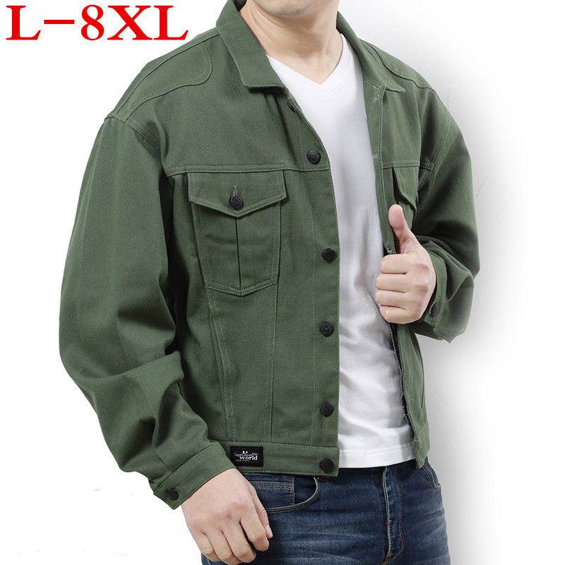 2018 new plus size 8XL 7XL 6XL 5XL 4XL 3XL spring new classic denim brand clothing casual men jean jacket coat male Student