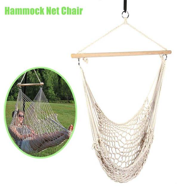 Outdoor Indoor Hammock Chair Hanging Swing Cotton Rope Net Cradles Kids  Adults Swing Seat Chairs B2Cshop