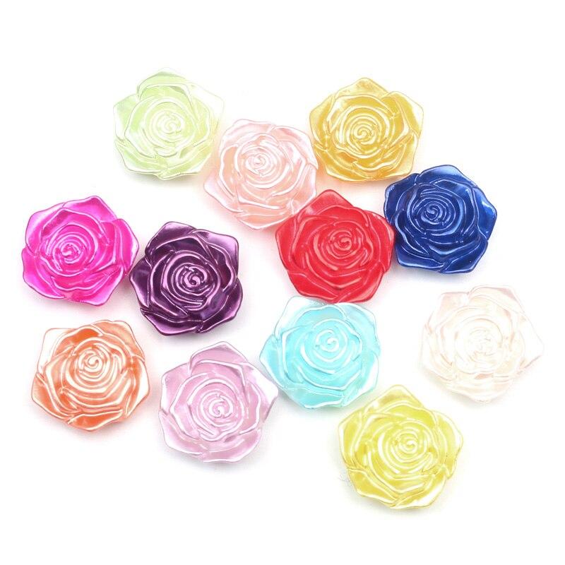 LF 50Pcs Mixed Flower 18mm Pearl Decoration Craft Flatback Cabochon Embellishments For Scrapbooking Kawaii Cute Diy Accessories