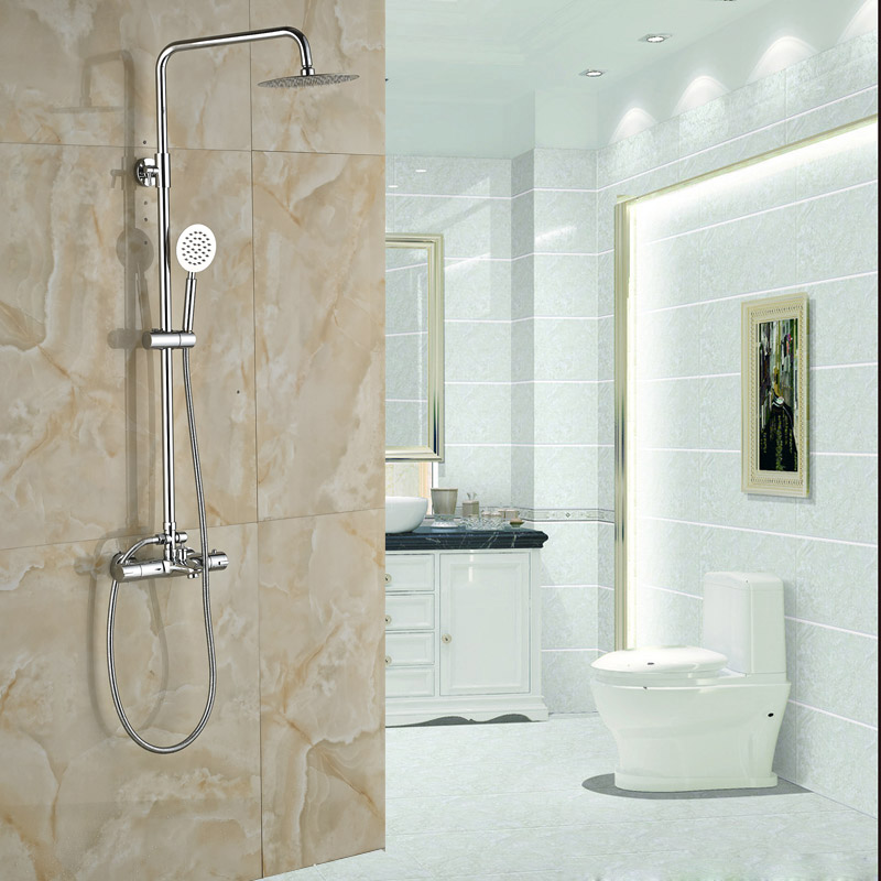 Luxury Bathroom Thermostatic Mixer Ultrathin Head Bath Shower Faucet Wall Mounted Shower Set Chrome Finish