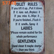 Toilet Rules Family  Metal Tin Sign Vintage Plates For Wall Pub Home Art Retro Bar Decoration A-5774