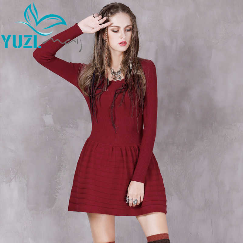 סתיו dress 2017 yuzi. may boho ניו כותנה o-צוואר השרוול ארוך אונליין vestidos שמלות הסריגה אקארד הטיבטי vestido feminino