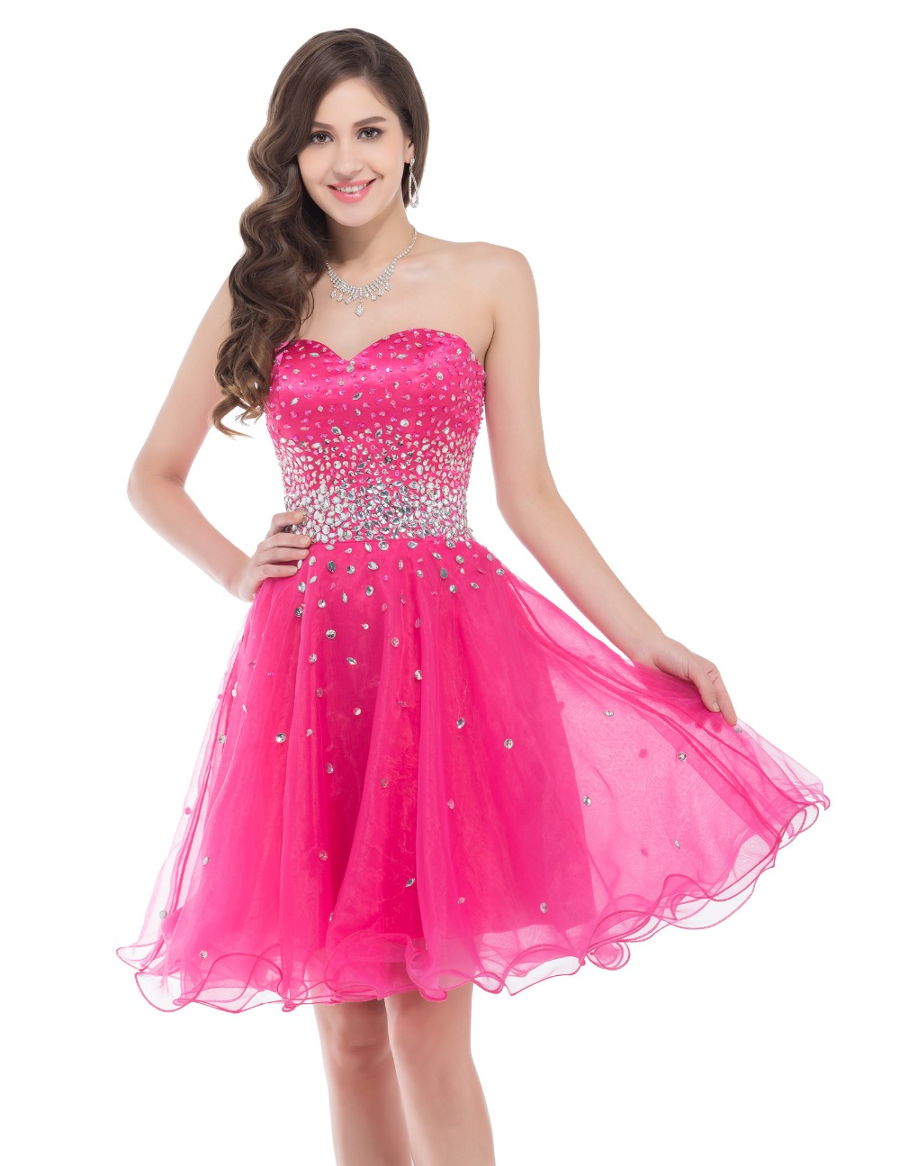New Design Summer Girls Simple Graduation Dress Hot Pink Short Prom ...