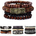 CCD New Fashion Leather Anchor Bracelets & bangle Men 3/4 pcs 1 Set Multilayer Bead Wristband Vintage Handmade Bracelet Pulseira