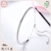 Trendy And Beautiful Top Quality Delicate Shinning CZ Paving Adjustable 925 Pure Silver Bangle For Girls
