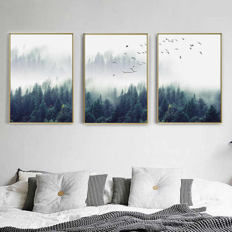 FGHGF Nordic Forest Landscape Wall Art Canvas Poster and Print Canvas Painting Decorative Picture for Living Room Home Decor