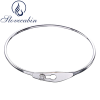2017 France Popular Jewelry Original 925 Sterling Silver Serrure Jonc Femme Bracelet Bangle For Women Crystal