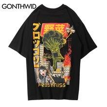 033195cf GONTHWID Japanese Crazy Vegetables Printed Short Sleeve T Shirts Streetwear  Harajuku Hip Hop Casual Tee Shirts Male Tshirts Tops