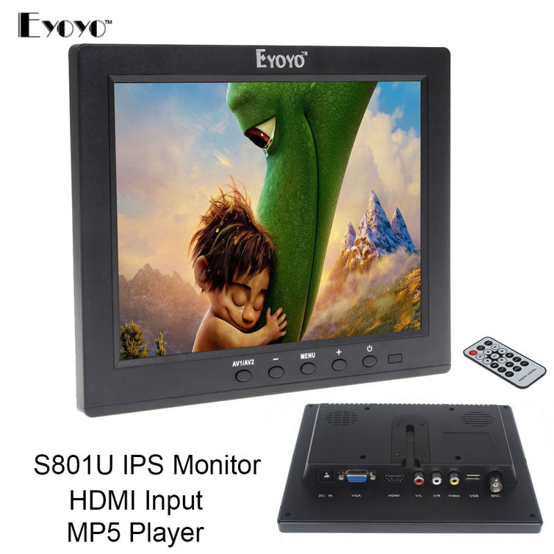 Free shipping!Eyoyo 8 IPS LCD Video Audio VGA HDMl BNC Monitor MP5 For DVR PC CCTV Remote Control